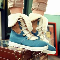 Women's Color Stitching Lace Up Winter Warm Lining Cuffed Ankle Boots Shoes Size