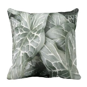Cuckoo Pint Leaves In Black And White Throw Pillow
