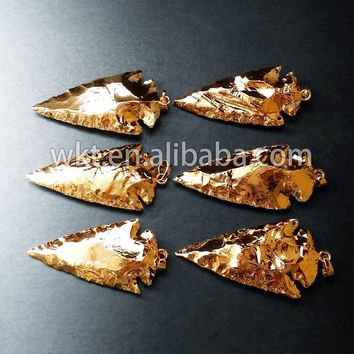 """Hot sale Full gold dipped indian A gate pendants, fashion gold dipped stone arrowhead pendants size 2"""" inch"""
