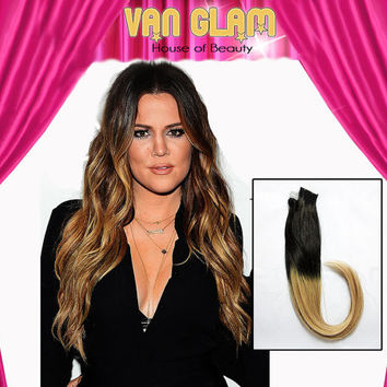"""Khloe Kardashian Inspired Ombre, Tape In, Hair Extensions, 20"""""""