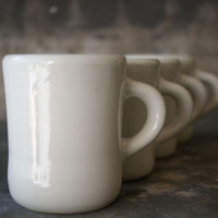 Tepco Restaurant Mugs, Set of 4, 1950's Diner Coffee Cups, White Semi Vitreous Porcelain