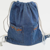 Upcycled Denim Shirt Lined Drawstring Backpack with Two Pockets, Sustainable Cinch Sack