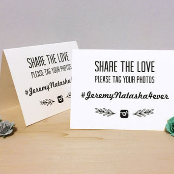 Instagram Wedding Hashtag Tent Card - Custom Printable Download
