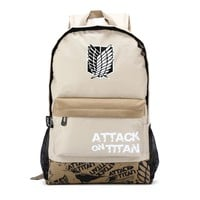 Anime Attack on Titan Cosplay Eren Jaeger Japanese cartoon student campus men and women backpack