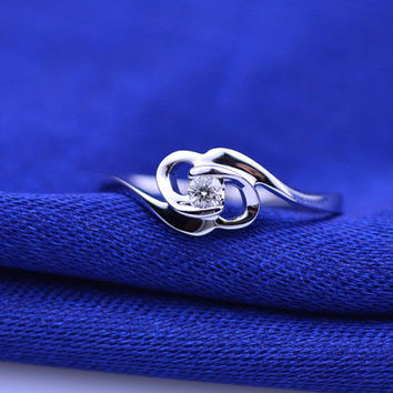 Bow Knot Solitaire Diamond 18k White Gold Ring Band Engagement Wedding Birthday Anniversary Valentine's