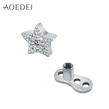 ac DCCKO2Q AOEDEJ 5mm Star Crystal Micro Skin Diver Dermal Anchor Stainless Steel Hide In Surface Attchments Mamilo Pircing Body Jewelry