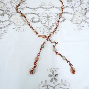 Long Wire Wrapped Necklace, Jasper and Bare Copper Wirework Necklace and Pendant, Untreated Copper Wire, Hand Crafted Chain, Upcycled Copper