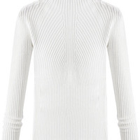 Beige Crew Neck Knitted Pullover