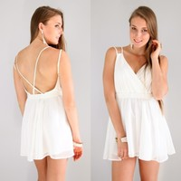 WHITE GRECIAN CRISS CROSS CAGED BACK BACKLESS WRAP SKATER DRESS 8