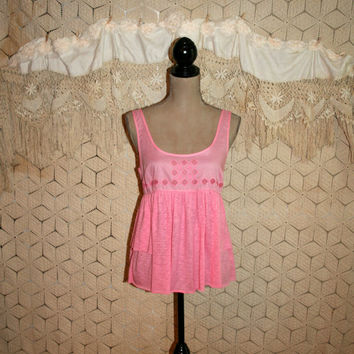 Pink Babydoll Top Summer Top Boho Top Hippie Top Sleeveless Tops Pink Top Embroidered Festival Top NWT American Eagle Small Womens Clothing