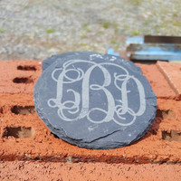Laser Engraved Natural Slate Coasters with Monogram ~ Home Decor ~ Housewarming Gift ~ Wedding Gift ~Sorority ~ Girly