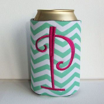Monogrammed Custom Can mint green chevron Koozie -  Personalized Embroidered Monogram Coozie - gift for her drink holder
