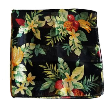 Black Tropical Fruit Retro Chiffon Scarf