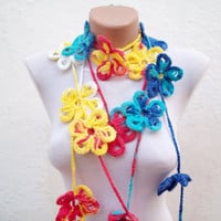 Handmade crochet Lariat Scarf Red Blue White Yellow  Flower Lariat Scarf Colorful Variegated Long Necklace Winter Fashion