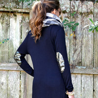 SZ LARGE To The Max Black Sequin Elbow Maxi Cardigan