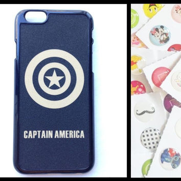 SALE! iPhone6 iPhone 6 Captain America Hard Case Cover Back 4.7inch + Home Button Stickers Pack Marvel Avengers Age of Ultron
