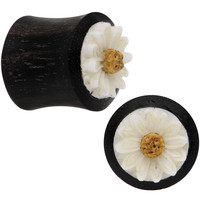 "7/16"" Gauge Organic Black Wood White Detailed Daisy Saddle Plug Set"