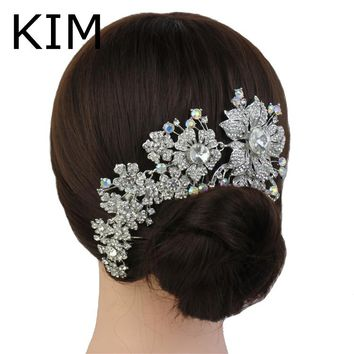 2015 Promotion Tiara Noiva Winsome Wedding Hair Comb Bridal Accessories Vintage Comb, Rhinestone White, Side Tiara, Crystals