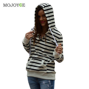 Stripe Long Sleeve Hoodies Women Sweatshirt Women Casual Hooded Coat Pullover M L XL Women Hoodies Sweatshirts SN9