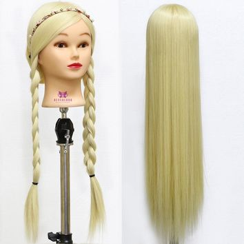 30 Inch Long Blonde Hair Hairdressing Head Training Head Barber Practice Hair Doll Dummy for Hairstyles with Table Clamp