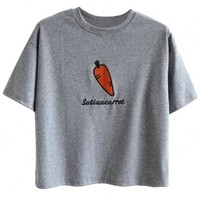 Carrot Pattern Embroidery Drop Shoulder Tee - OASAP.com