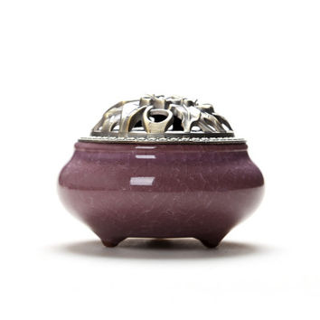 Ceramic Coil Incense Burners Holder with Metal Copper Cover  K