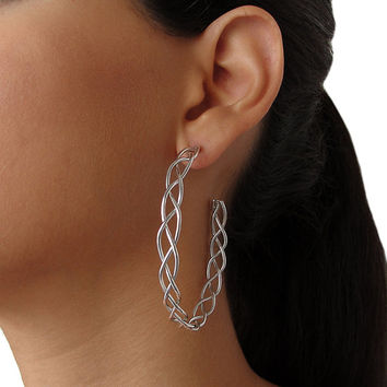 Braided hoop earrings, artisan sterling silver knitted wire hoop earrings, large silver hoop earrings, big braided wire earings for sale