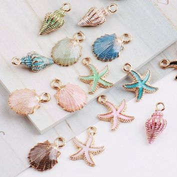 ESBONFI MRHUANG 10pcs Coloful Nautical Ocean starfish Shell Conch Sea Enamel Charms DIY Bracelet Necklace Jewelry Accessory DIY Craft