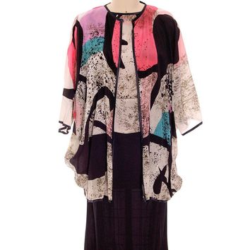 Vintage Dona Vitti Silk Cocoon Coat & Dress Abstract Print  L 1980s L