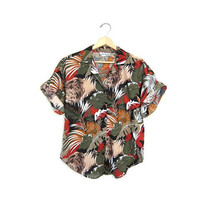 20% OFF SALE Vintage safari shirt. Short sleeve jungle shirt. Button up shirt. Animal print shirt.