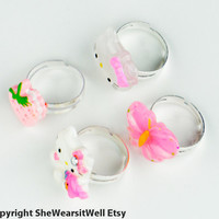 Childrens Rings for Girls- Set of FOUR Rings, Hello Kitty, Hello Kitty Face, Pink Strawberry, Pink Butterfly