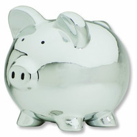 Carters Smiley Happy Piggy Bank, Silver