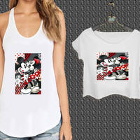 Hugs and Kisses Disney Mickey Minnie mouse For Woman Tank Top , Man Tank Top / Crop Shirt, Sexy Shirt,Cropped Shirt,Crop Tshirt Women,Crop Shirt Women S, M, L, XL, 2XL*NP*