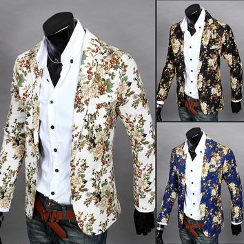 Autumn floral blazer men small suit korean slim big yards new casual jacket suit england costume homme blazer masculino