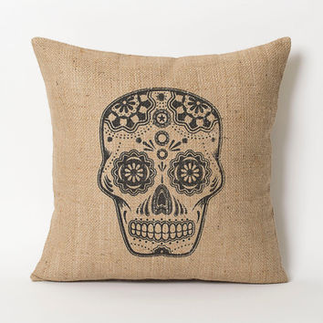 Burlap Pillowcase - Mexican Mask Skull Burlap Art Print Shabby Chic Decor - Accent Throw Pillow - Decorative Pillows - Cushion Cover