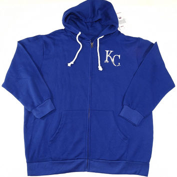 Kansas City Royals Majestic Full Zip Hoodie Sweatshirt Women's Plus Size 1XL