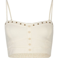 Full Tilt Stud Trim Bralette Ivory  In Sizes