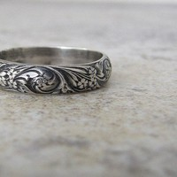 Silver Floral Ring Antiqued Wedding Ring Wedding Band Engagement Ring