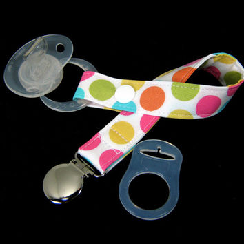 Fabric Pacifier Clip - Michael Miller Polka Dots for Girls - Paci Clip with Optional Silicone Adapter Ring