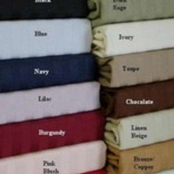 "16"" Deep Pocket -5 SIZES-600TC Striped Egyptian Cotton Bed Sheet Sets Color: Bronze Size: Full"
