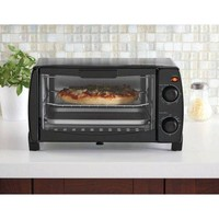 Small Compact Black Sleek 4 Slice Toaster/Broiler Oven