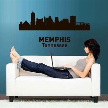 Wall Vinyl Sticker Decals Decor Art Bedroom Design Mural Words Sign Town City Skyline Memphis Tennessee(z3053)