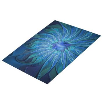 Blue Flower Fantasy Pattern, Abstract Fractal Art Jigsaw Puzzle