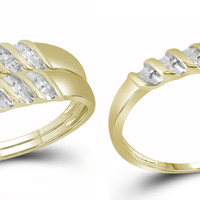 10k Yellow Gold Diamond Marquise-shape Cluster Bridal Wedding Trio Mens Womens Ring Band Set 15911