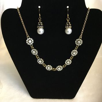 Antique Gold Crystal Flower Design Necklace and Crystal and Pearl Drop Earrings Set