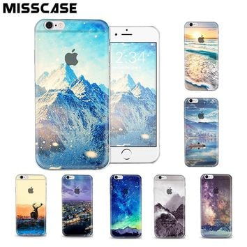 Transparent Crystal PC Hard Phone Case For iPhone 6 6S Plus SE 5 5S Beautiful Snow Mountain Protection Cover Cases coque fundas