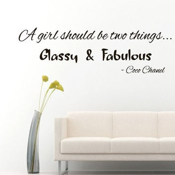 Wall Decals Vinyl Decal Coco Chanel Quote A Girl Should Be Two things... Fashion Home Vinyl Decal Sticker Kids Nursery Baby Room Decor kk2