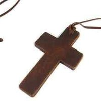 Ladies Fashion Wooden Cross Necklace Religious Rosary Fashion Long Necklace