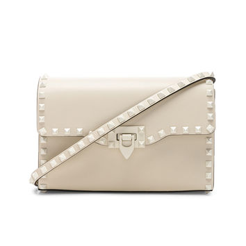 Valentino Medium Rockstud Shoulder Bag in Light Ivory & Light Ivory | FWRD