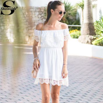 Sheinside Off The Shoulder Contrast Lace Dress Summer Short Sleeve Skater Short Dress Women's Party Wear Shift Dresses